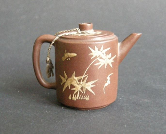 Teapot miniature  Yixing ware  with caligraphy  prunus bamboo and bats | MasterArt