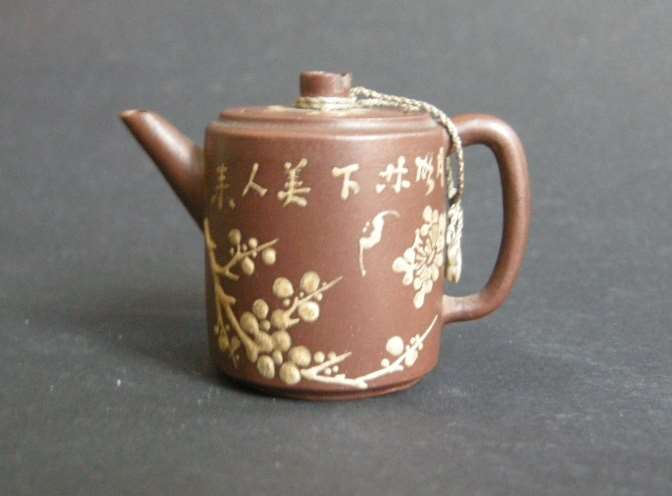 Teapot miniature  Yixing ware  with caligraphy  prunus bamboo and bats