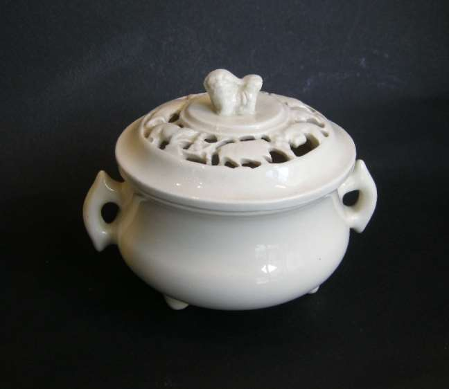 "Very rare censer ""blanc de chine"" with cover reticulated - Dehua kilns - Fujian province - Kangxi period"