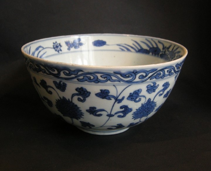 Bowl porcelain blue and white - decorated with flowers