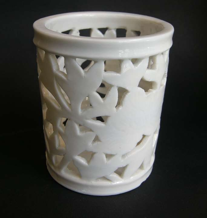 "Brushpot ""blanc de chine porcelain with reticulated decor - Dehua kilns Fujian province - Kangxi period"