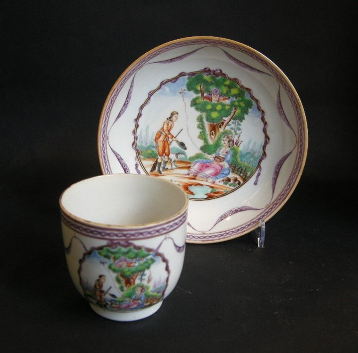 Cup and saucer porcelain - after a engraving of Moreau le Jeune Chinese export