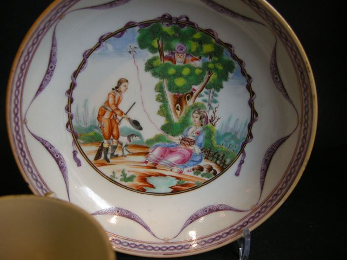 Cup and saucer porcelain - after a engraving of Moreau le Jeune Chinese export | MasterArt