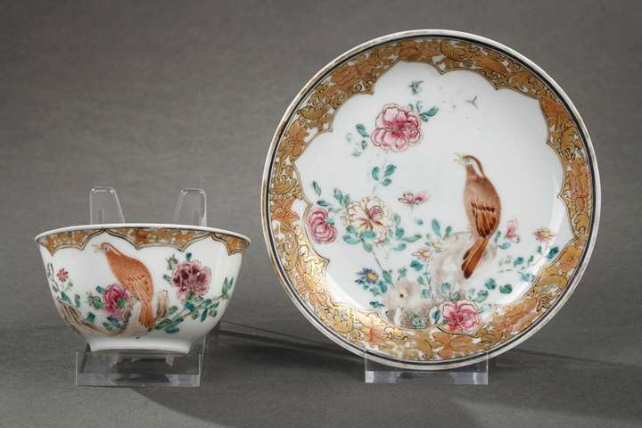 Cup and saucer Famille rose porcelain