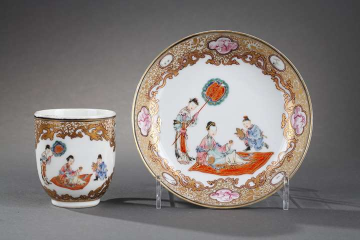 Cup with handle  and saucer Famille rose porcelain  finely decorated -with lady court taking the tea