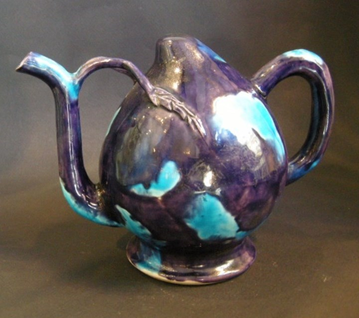 "Ewer ""cadogan"" shape a biscuit turquoise blue and aubergine"