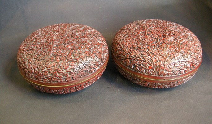 Pair of cinnabar lacquer box with numerous flowers | MasterArt