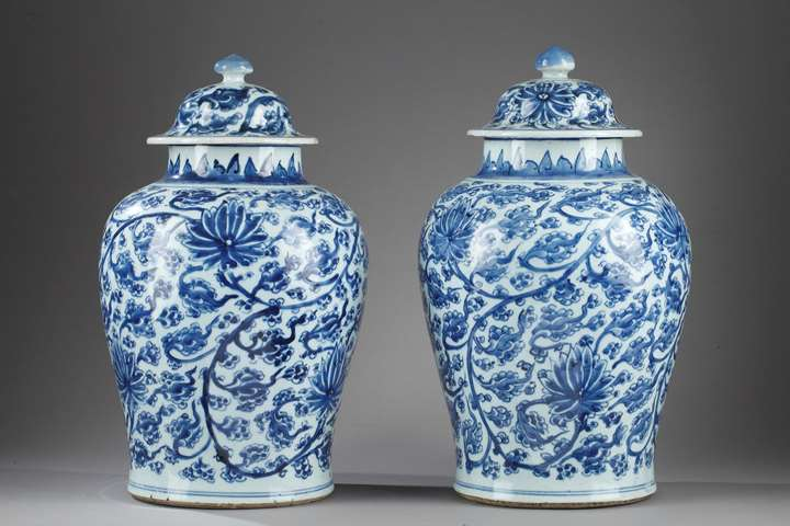 "A pair of porcelain vases ""blue and white"""