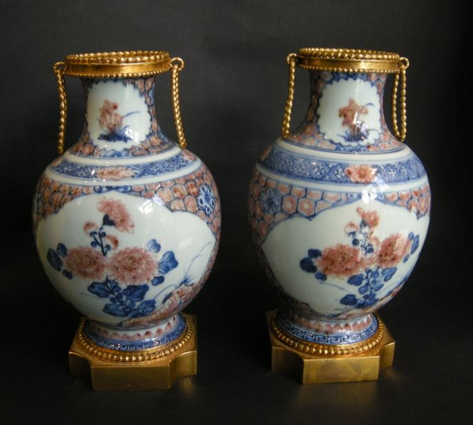 Pair porcelain vases decorated in underglaze blue and copper red | MasterArt