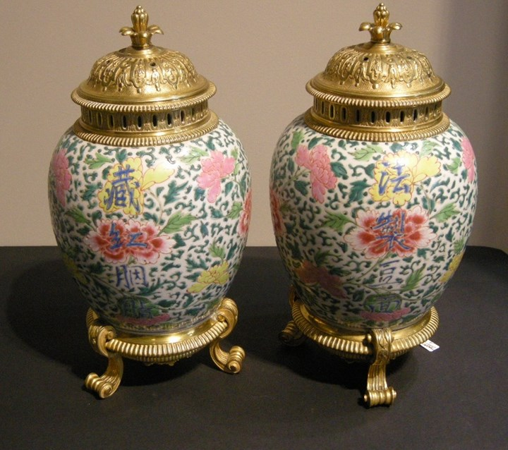 A pair of porcelain vases famille rose