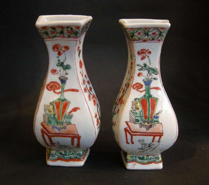 "Pair porcelain wall vases ""famille verte"" with vases and rabbits -Kangxi period"