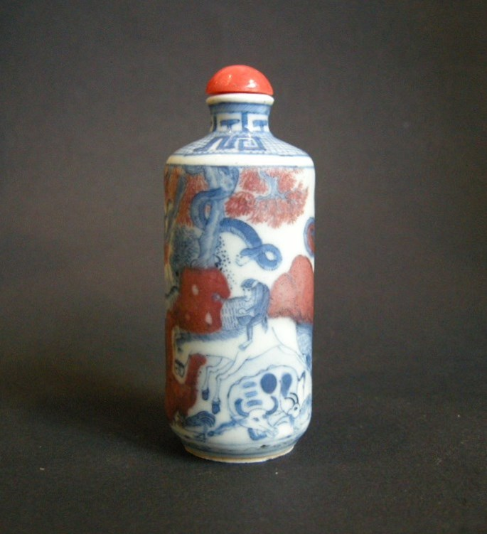 Porcelain snuff bottle decorated in underglaze blue and copper red with twelve animals of zodiac | MasterArt