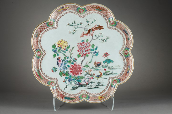 Rare large tray porcelain famille rose decorated flowers Mandarin Duck and birds
