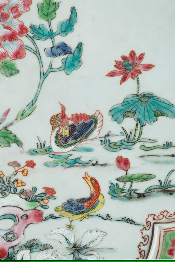 Rare large tray porcelain famille rose decorated flowers Mandarin Duck and birds | MasterArt