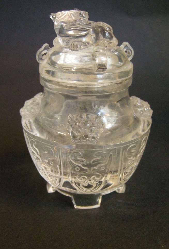 small incense burner and cover  sculpted in rock Crystal  -