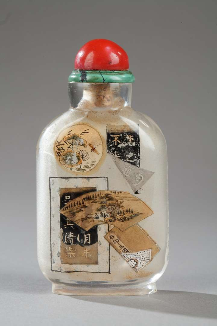 "Snuff bottle glass inside painted, decorated with old documents on a side and other side  with caligraphy of ""lanting preface"""
