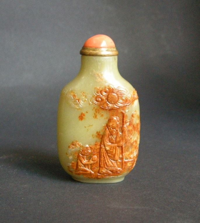 Snuff bottle jade yellow green carved in the russet color  - and other face carved with a prunus. | MasterArt