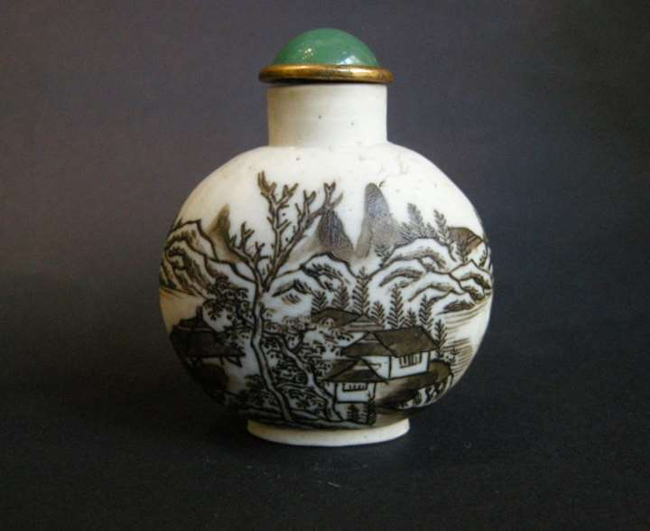 "Snuff bottle porcelain ""biscuit"" painted in brown cobalt with a landscape. SOLD"