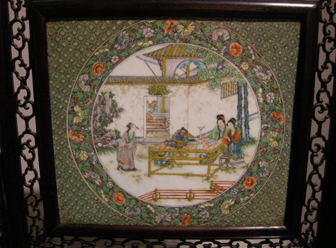 Table screen wood with canton porcelain plaque | MasterArt