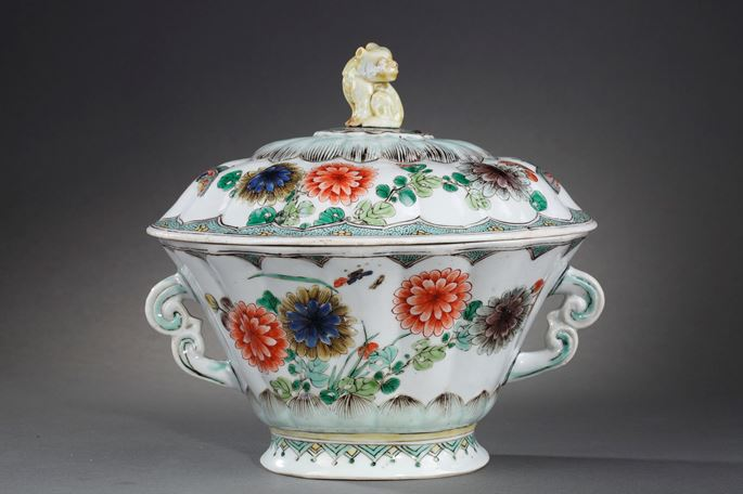 "Very rare tureen model ""Famille verte"" porcelain 