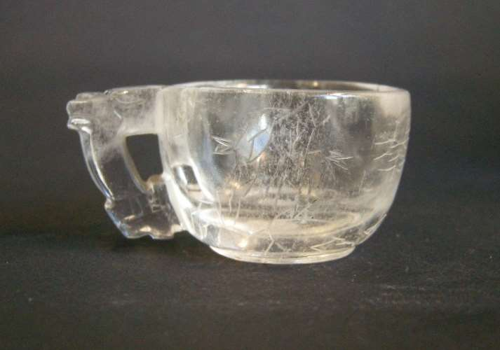 Watercup rock Crystal engraved with boat figures in a landscape