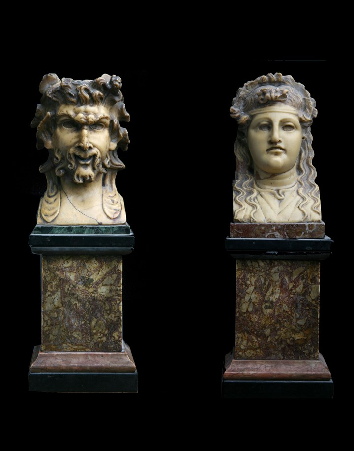A Pair of Giallo Antico Herm Heads