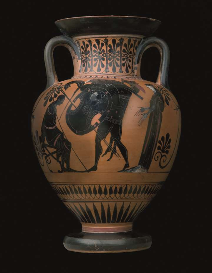 Black Figure Amphora attributed to the Antimenes Painter representing Ajax carrying Achilles