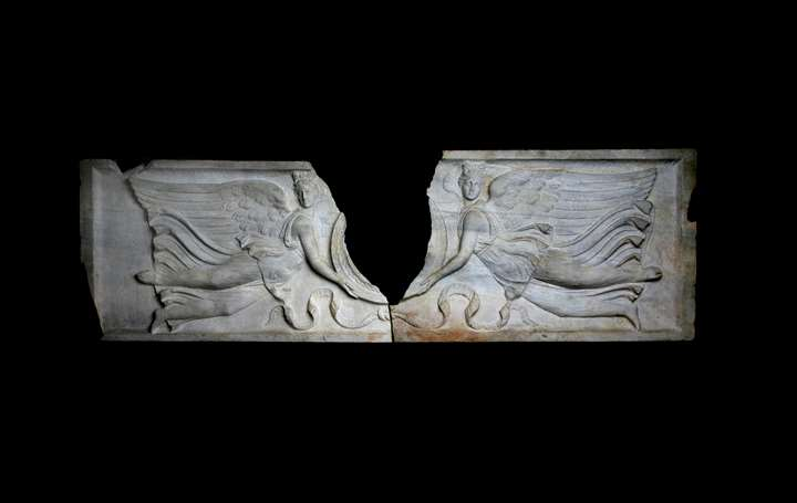 Facade of a Sarcophagus depicting two Victoires