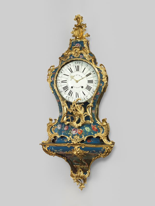 Edme Caussard - Blue European lacquer wall-clock Louis XV | MasterArt