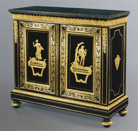 A BEAUTIFUL AND RARE PAIR OF LOUIS XIV FIRST HALF OF THE XVIIIth CENTURY TWO DOOR, BRASS AND EBONY CABINETS IN PREMIERE AND SECOND PARTIE VENEER, ORNATED WITH CHASED, PIERCED AND GILDED BRONZE MOUNTS