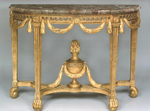 A FINE AND RARE LOUIS XVI GILTWOOD CONSOLE TABLE