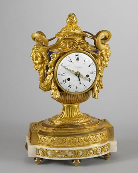 A RARE AND BEAUTIFUL LOUIS XVI ORMOLU AND BLUE ENAMEL MANTEL CLOCK