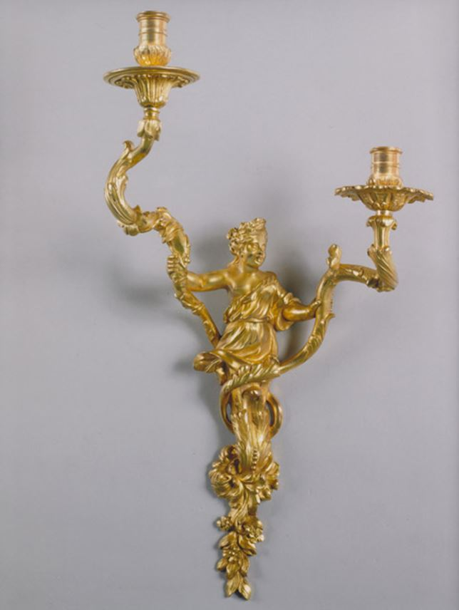 A RARE PAIR OF GILT BRONZE TWO BRANCH WALL LIGHTS | MasterArt