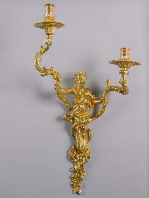 A RARE PAIR OF GILT BRONZE TWO BRANCH WALL LIGHTS