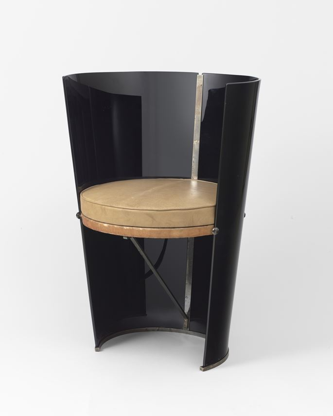 Rene Coulon - Black glass chair | MasterArt