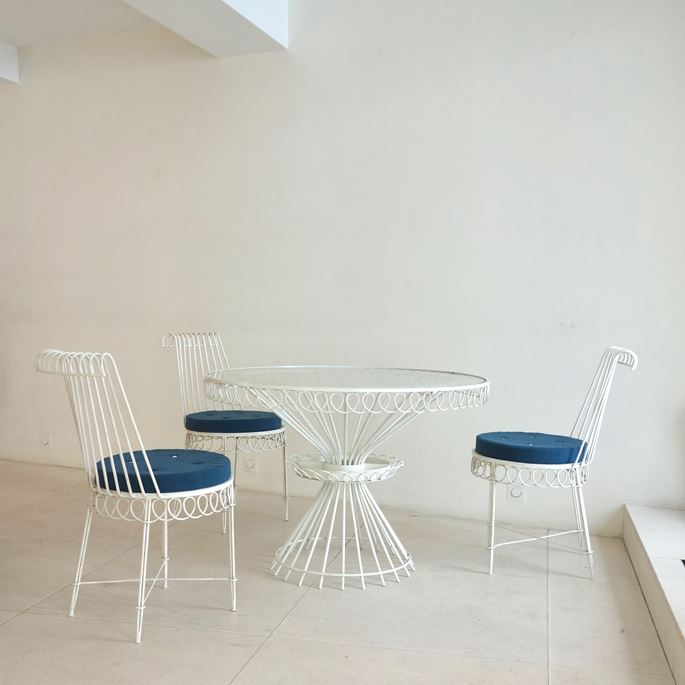 Mathieu Mategot - Cap d'Ail model, set of five chairs and a rond table | MasterArt