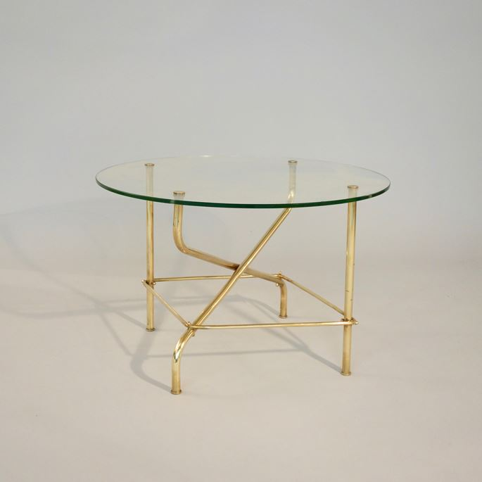 Mathieu Mategot - Coffee table, base in brass, top in glass | MasterArt