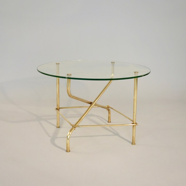 Coffee table, base in brass, top in glass