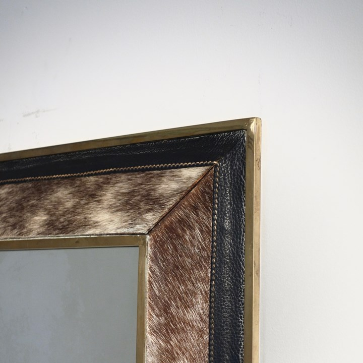 Horse Guard model mirror, brass, simili leather and fur, 1959
