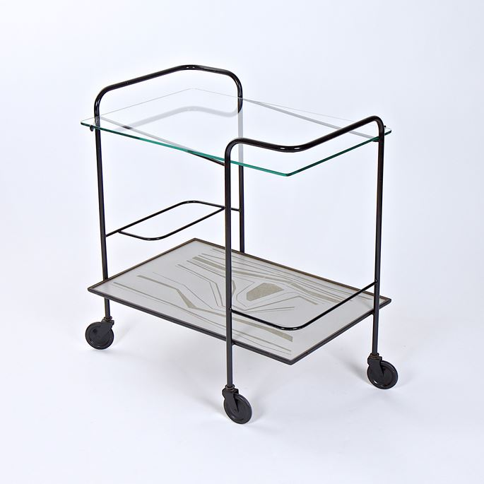 Mathieu Mategot - Rare trolley, metallic structure, glass and carved composite materials tops | MasterArt