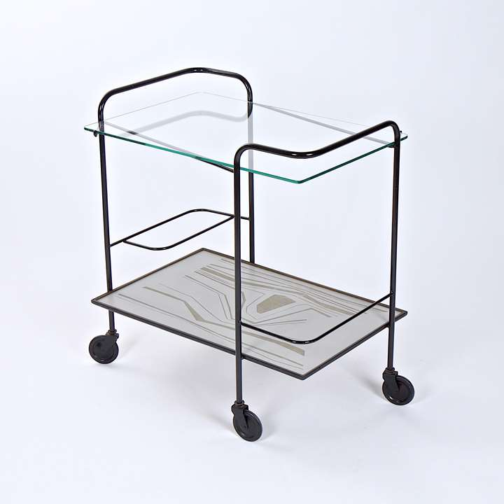 Rare trolley, metallic structure, glass and carved composite materials tops