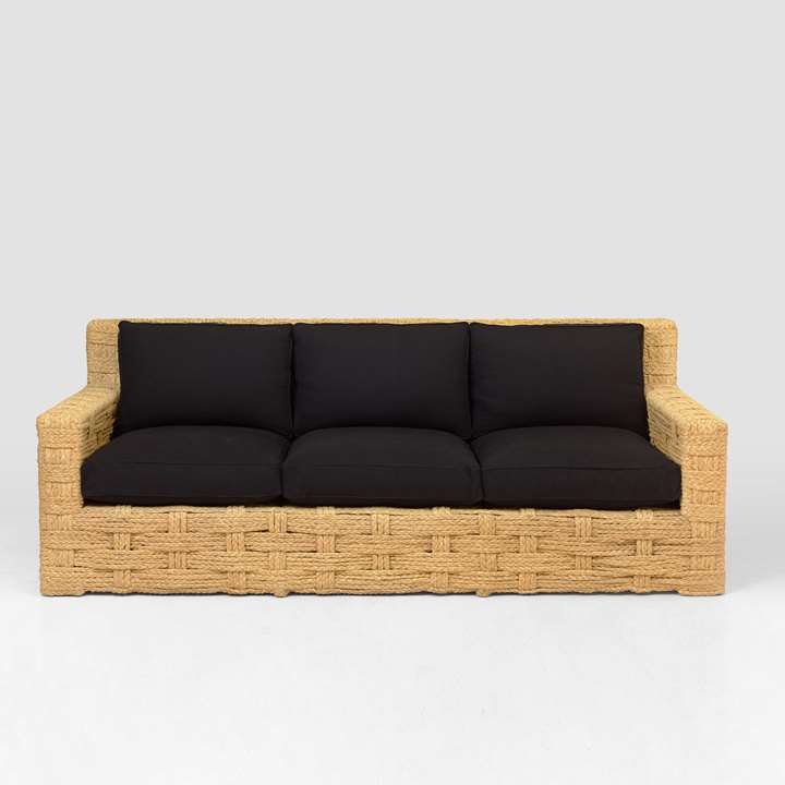 Rare three seats sofa, wooden structure trimmed with braided raffia