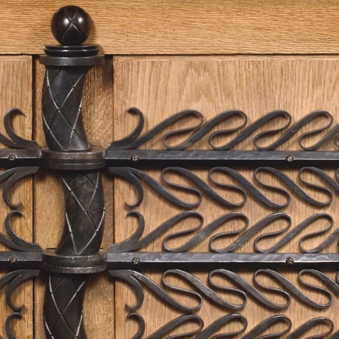 Raymond Subes - Unique cabinet in brushed oak and wrought iron | MasterArt