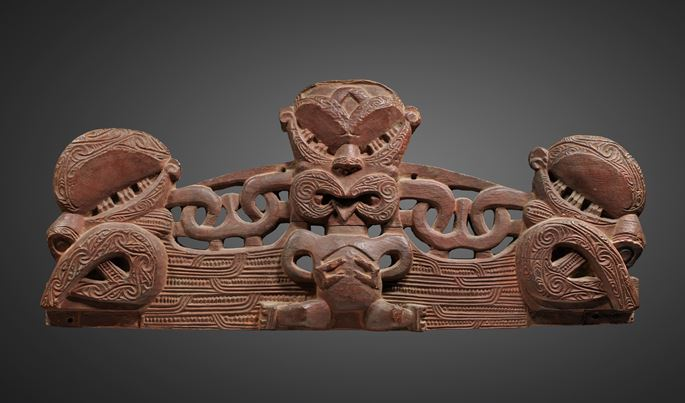 A superb small lintel or pare (also known as korupe) from a marae, the meeting-house, or from a pataka, the chiefly treasure and food storage house.  | MasterArt