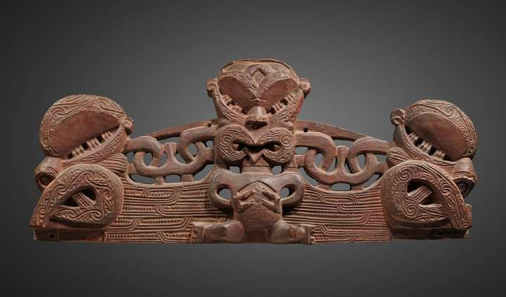 A superb small lintel or pare (also known as korupe) from a marae, the meeting-house, or from a pataka, the chiefly treasure and food storage house.