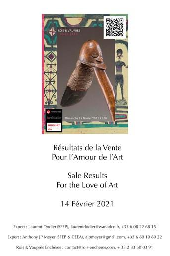 Résultats de la vente Pour l'Amour de l'Art / Sales Results For the Love of Art