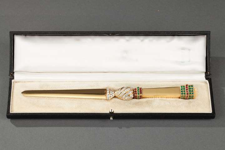20th century Gold paper knife with diamond, emerald and rubis.