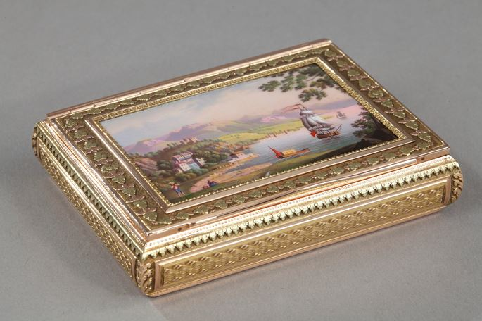 A  SWISS ENAMELLED GOLD SNUFF-BOX SET WITH AN ENAMEL MINIATURE | MasterArt