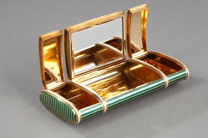 Bi-colour Gold and enamel vanity case | MasterArt