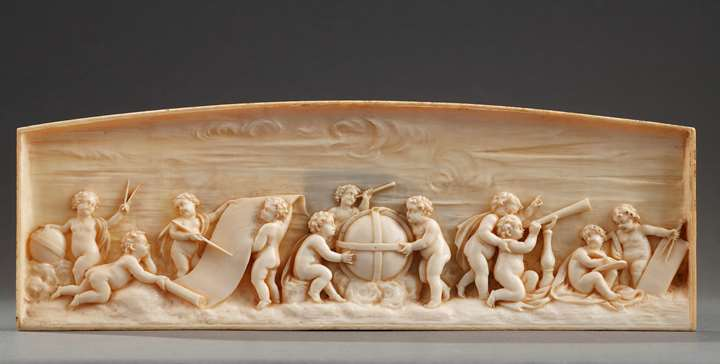 Early 19th Century continental ivory plaque: le lesson in astronomy